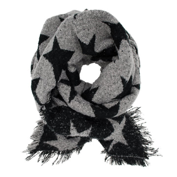 Pudus Women's Warm Blanket Scarf with Reversible Star Pattern, Oversized Shawls and Wraps for Winter and Fall Blanket Scarf Stars Black