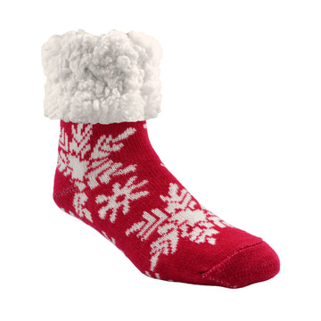 Pudus Cozy Winter Slipper Socks for Women and Men with Non-Slip Grippers and Faux Fur Sherpa Fleece - Adult Regular Fuzzy Socks Snowflake Raspberry - Classic Slipper Sock