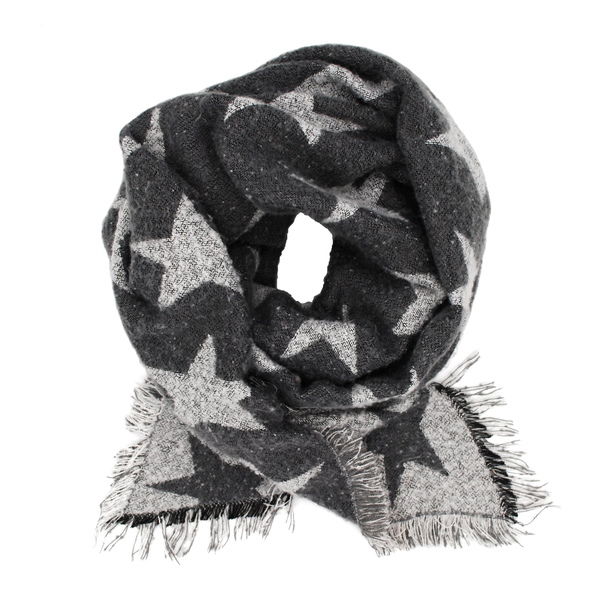 Pudus Women's Warm Blanket Scarf with Reversible Star Pattern, Oversized Shawls and Wraps for Winter and Fall Blanket Scarf Stars Grey