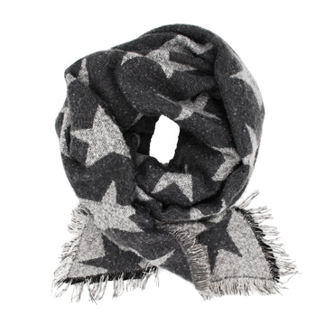 Blanket Scarf Stars Grey - Women's Warm Blanket Scarf, Fall & Winter Oversized Shawl Wrap PashminaPudus Women's Warm Blanket Scarf, Fall & Winter Oversized Wrap & Travel Shawl