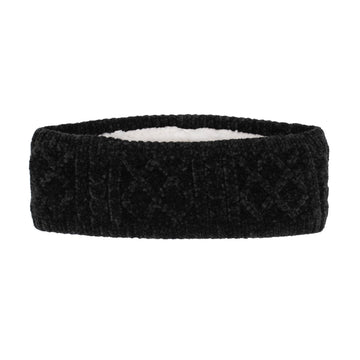 Pudus Winter Headbands for Women - Chenille Cable Knit Ear Warmer Headwrap Headband with Warm Faux Fur Fleece Lining Cable Knit Black Chenille - Headband Adult
