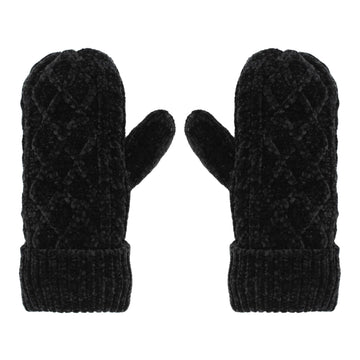 Pudus Chenille Cable Knit Winter Mittens for Women, Fleece-Lined Warm Gloves Cable Knit Black Chenille - Mittens Adult