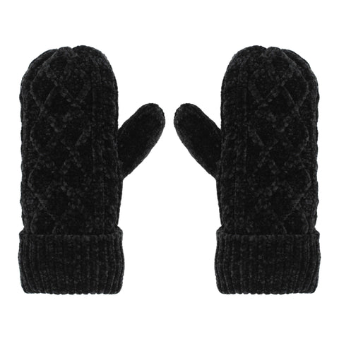 Chenille Knit Winter Mittens | Black