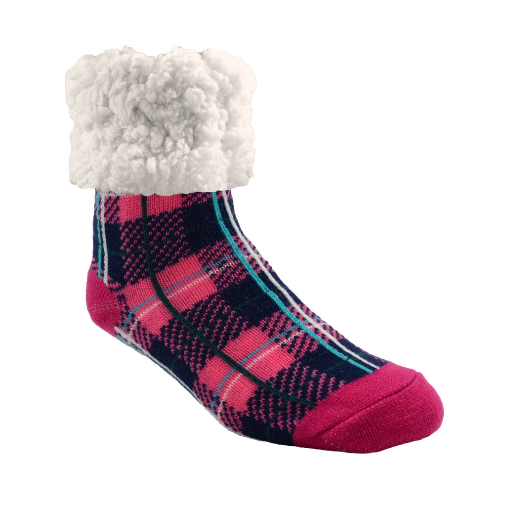 Pudus Cozy Winter Slipper Socks for Women and Men with Non-Slip Grippers and Faux Fur Sherpa Fleece - Adult Regular Fuzzy Socks Plaid Lumberjack Pink - Classic Slipper Sock
