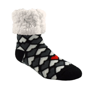 Pudus Cozy Winter Slipper Socks for Women and Men with Non-Slip Grippers and Faux Fur Sherpa Fleece - Adult Regular Fuzzy Socks Heart Black- Classic Slipper Sock
