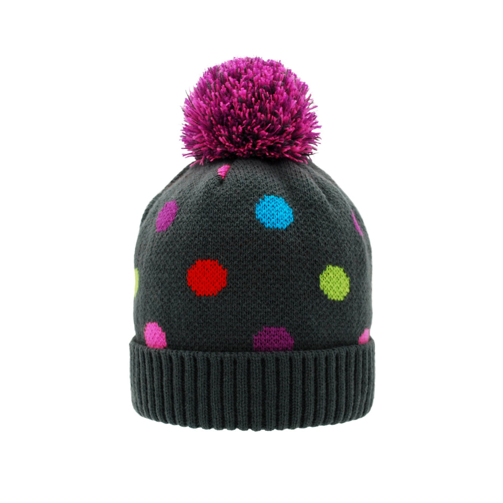 Pudus Kids Beanie Hat with Pom Pom, Sherpa-Lined Winter Knit Hats for Boys Girls Polka Dot Pom Pom Beanie Hat - Kids