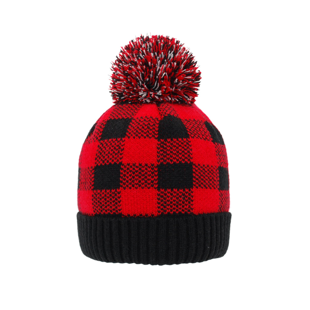 Pudus Kids Beanie Hat with Pom Pom, Sherpa-Lined Winter Knit Hats for Boys Girls Lumberjack Red with Pom Pom - Hat Kids