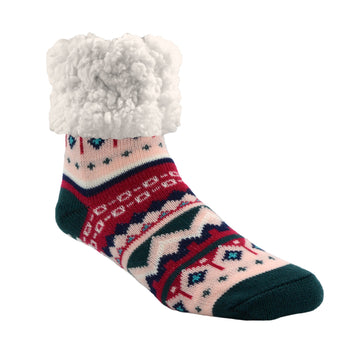 Pudus Cozy Winter Slipper Socks for Women and Men with Non-Slip Grippers and Faux Fur Sherpa Fleece - Adult Regular Fuzzy Socks Nordic Raspberry - Classic Slipper Sock
