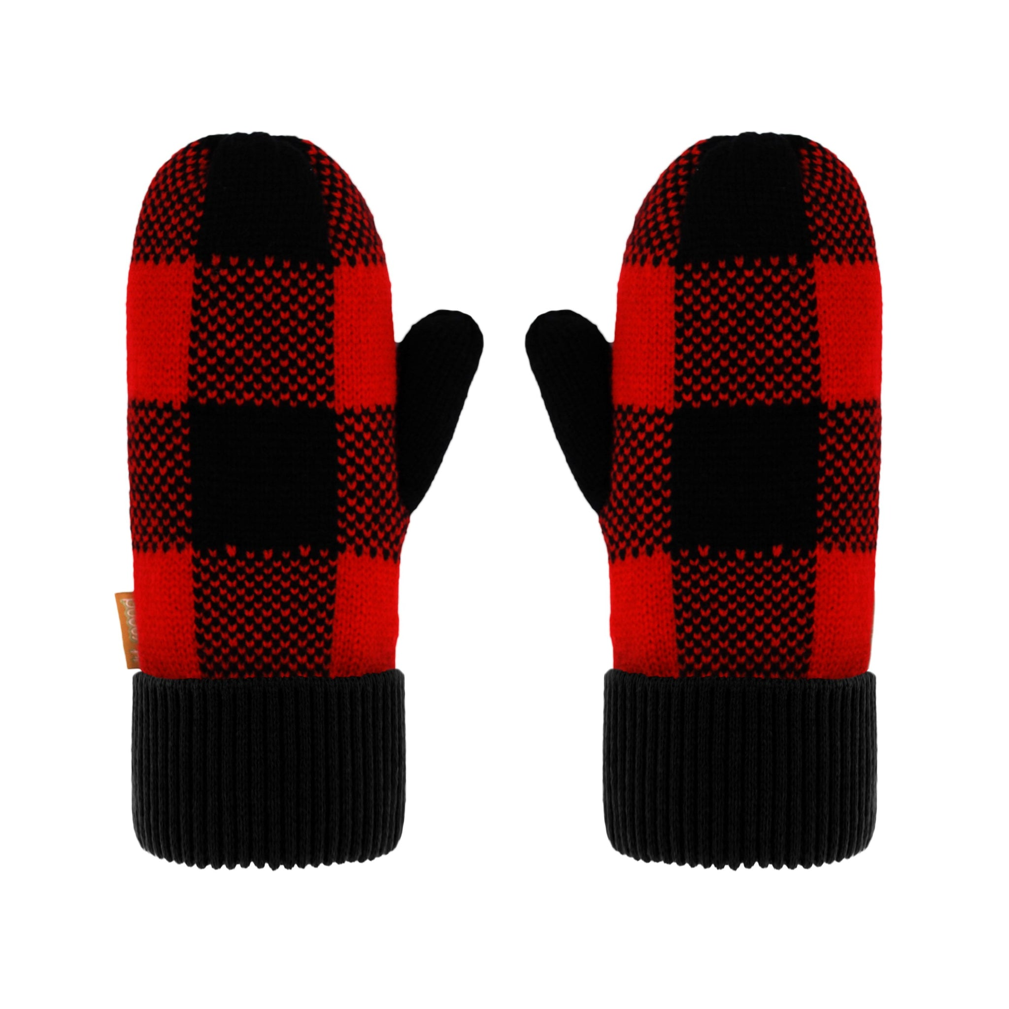 Pudus Classic Knit Winter Mittens for Women, Sherpa Fleece-Lined Warm Gloves Lumberjack Red - Mittens Adult