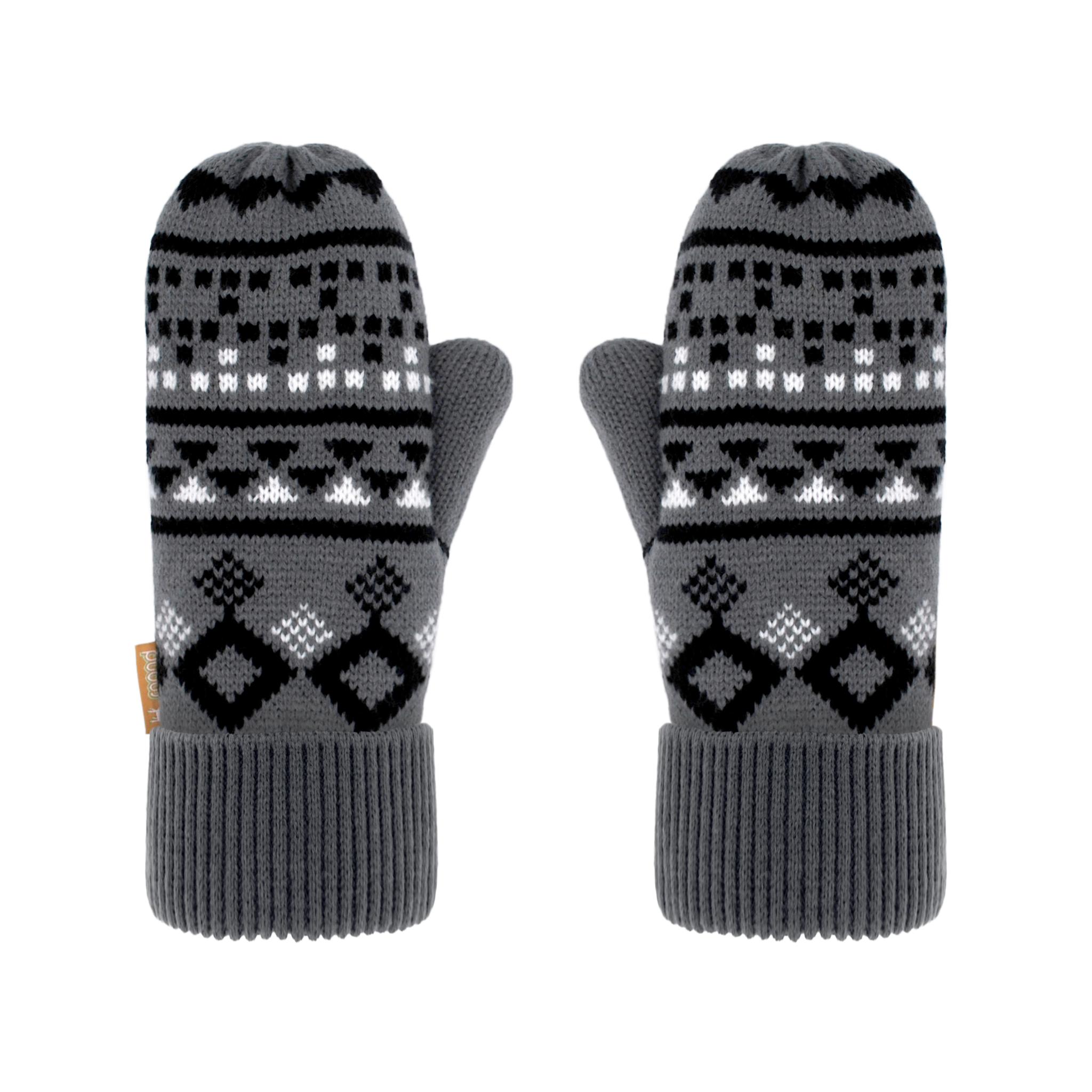Winter Mittens | Geometric Black