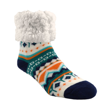 Pudus Cozy Winter Slipper Socks for Women and Men with Non-Slip Grippers and Faux Fur Sherpa Fleece - Adult Regular Fuzzy Socks Nordic Harbor - Classic Slipper Sock