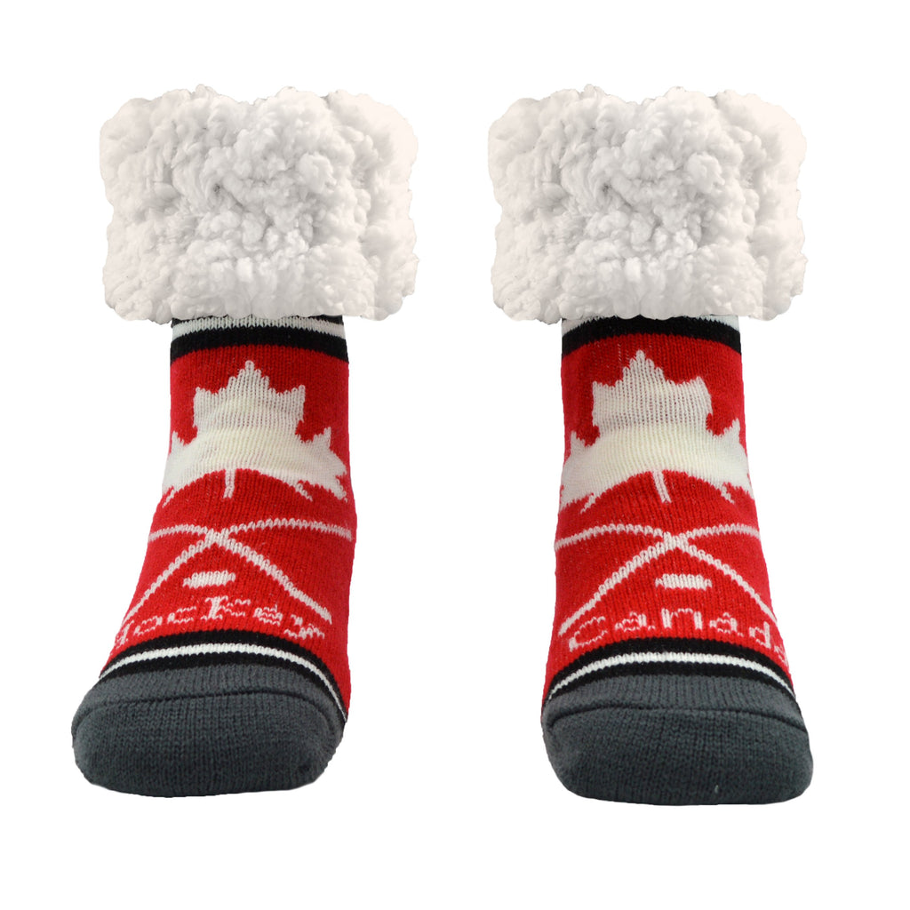 Pudus Cozy Winter Slipper Socks for Women and Men with Non-Slip Grippers and Faux Fur Sherpa Fleece - Adult Regular Fuzzy Socks Hockey Red - Classic Slipper Sock
