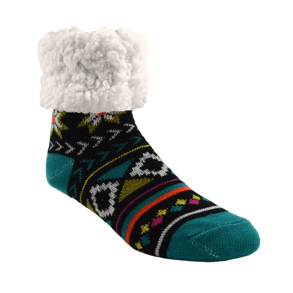 Pudus Cozy Winter Slipper Socks for Women and Men with Non-Slip Grippers and Faux Fur Sherpa Fleece - Adult Regular Fuzzy Socks Geometric Harbor - Classic Slipper Sock