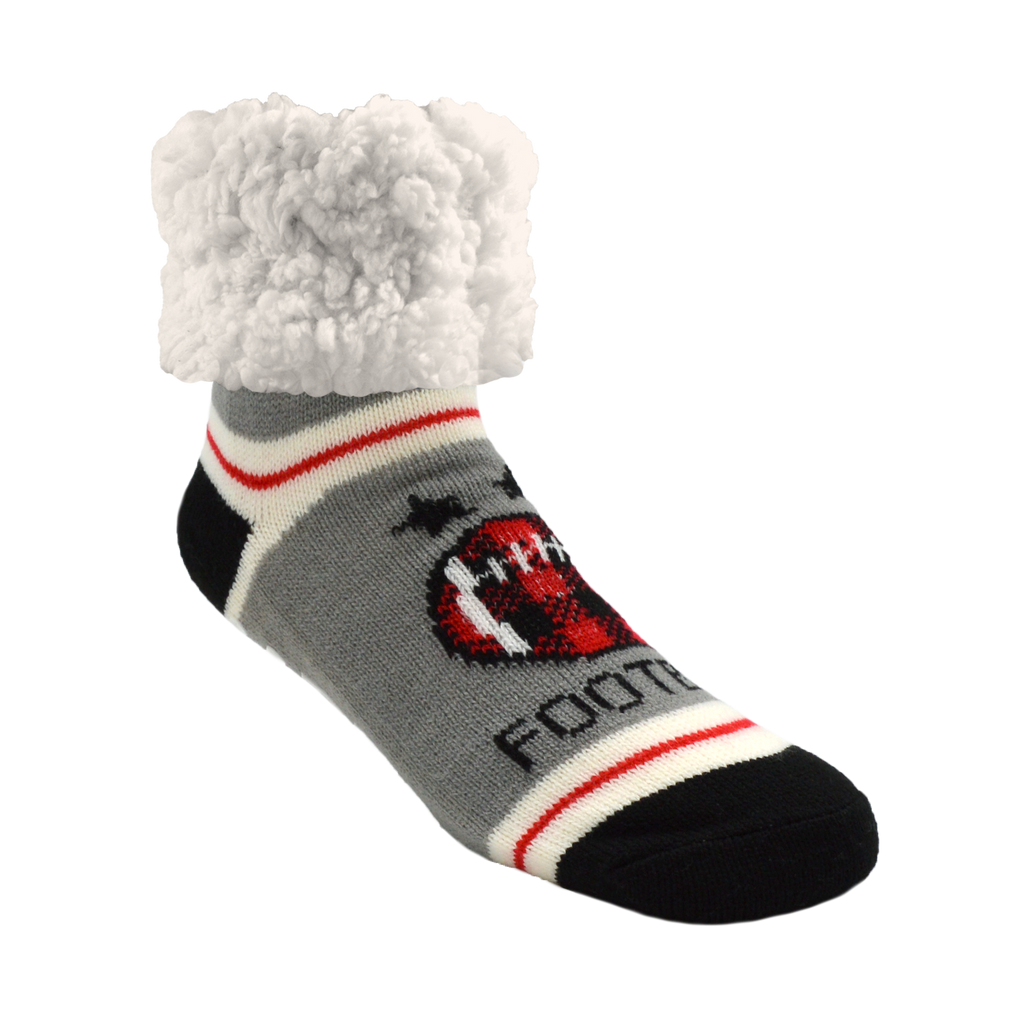 Pudus Red Football Adult Unisex Cozy Winter Slipper Socks with Grippers & Warm Fleece Lining