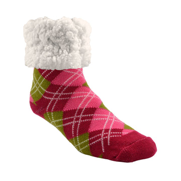 Pudus Cozy Winter Slipper Socks for Women and Men with Non-Slip Grippers and Faux Fur Sherpa Fleece -  Adult Regular Fuzzy Socks Argyle Raspberry - Classic Slipper Sock