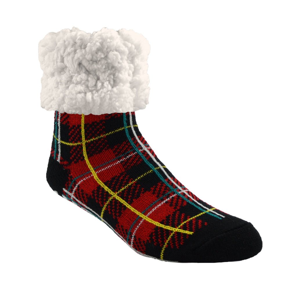Pudus Cozy Winter Slipper Socks for Women and Men with Non-Slip Grippers and Faux Fur Sherpa Fleece - Adult Regular Fuzzy Socks Plaid Lumberjack Red - Classic Slipper Sock