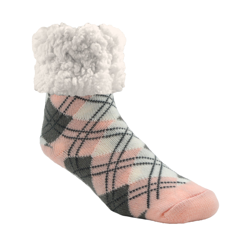Pudus Cozy Winter Slipper Socks for Women and Men with Non-Slip Grippers and Faux Fur Sherpa Fleece - Adult Regular Fuzzy Socks Argyle Blush- Classic Slipper Sock