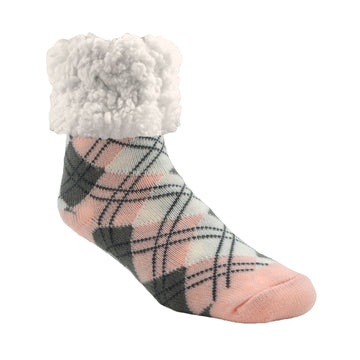 Pudus Argyle Blush - Classic Slipper Sock Cozy Winter Slipper Socks for Women and Men with Non-Slip Grippers and Faux Fur Sherpa Fleece -  Adult Regular Fuzzy Socks
