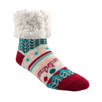Pudus Cozy Winter Slipper Socks for Women and Men with Non-Slip Grippers and Faux Fur Sherpa Fleece - Adult Regular Fuzzy Socks Geometric Raspberry - Classic Slipper Sock