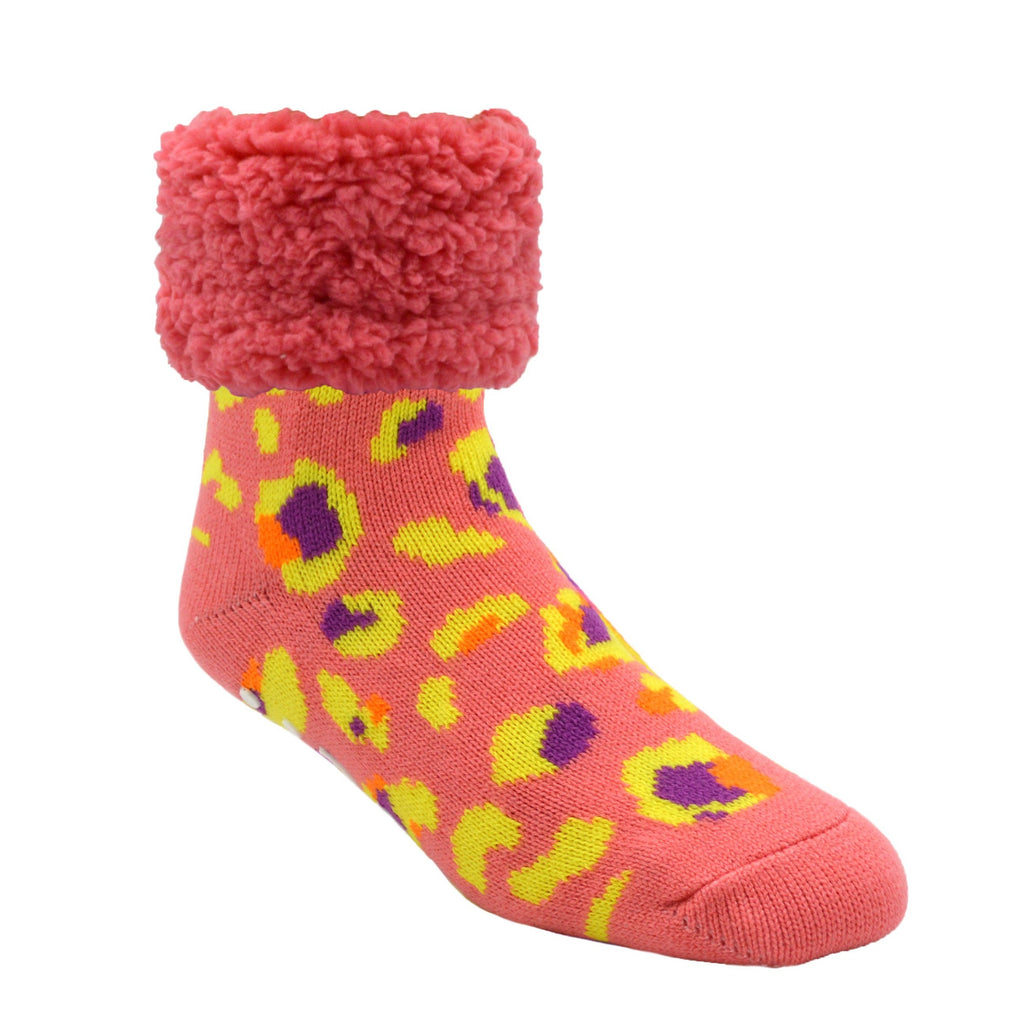 Pudus Cozy Winter Slipper Socks for Women and Men with Non-Slip Grippers and Faux Fur Sherpa Fleece - Adult Regular Fuzzy Socks Bright Coral Leopard Classic Slipper Sock