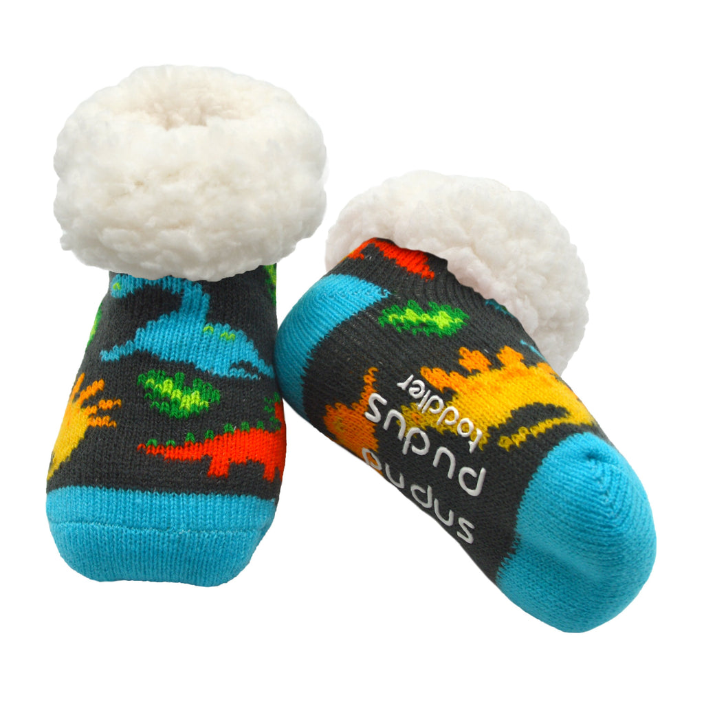 Dinosaur Multi Toddler Slipper Socks with Faux Fur Sherpa Fleece and Non-Slip Grippers - Baby Boy and Girl Fuzzy Socks (Ages 1-3)