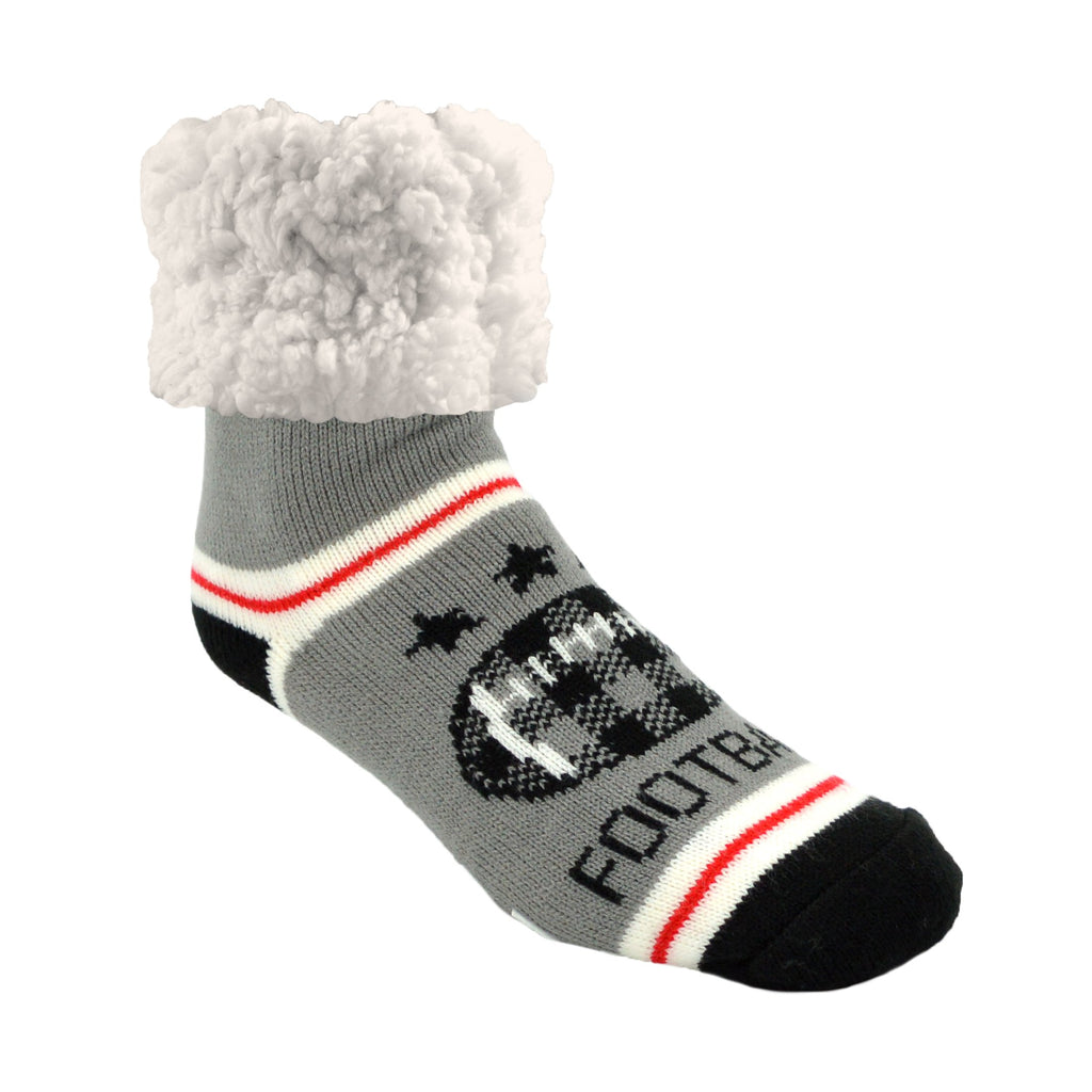Pudus Classic Football Grey slipper socks with grey heal and toe