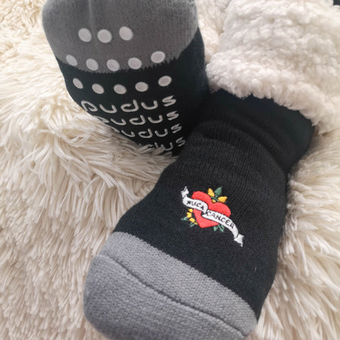 F Cancer x Pudus Classic Slipper Socks | Multi Patch