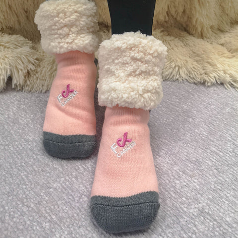 F Cancer x Pudus Classic Slipper Socks | Pink