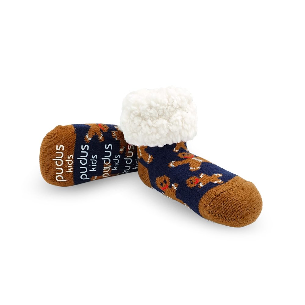 Pudus Cozy Winter Slipper Socks for Kids in Gingerbread Navy with Non-Slip Grippers and Faux Fur Sherpa Fleece - Boy and Girl Fuzzy Socks (Ages 4-7)