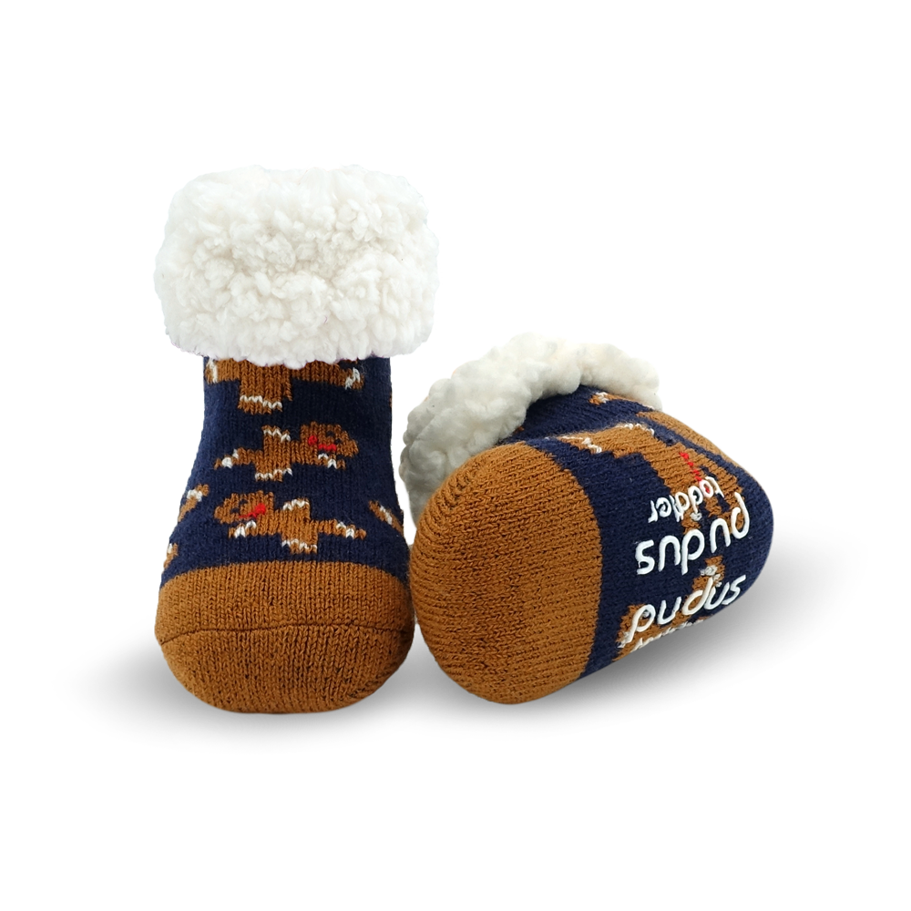 Toddler Classic Slipper Socks | Gingerbread Navy