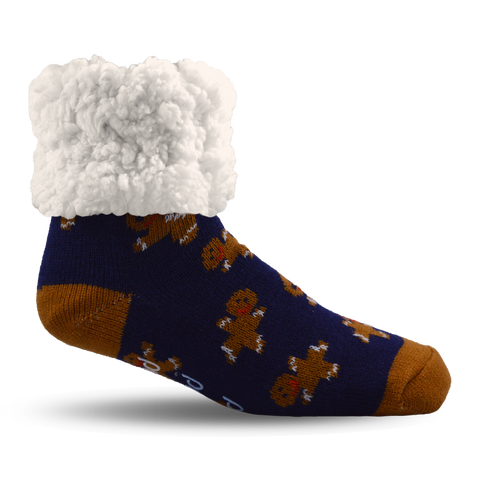 Kids Classic Slipper Socks | Gingerbread Navy