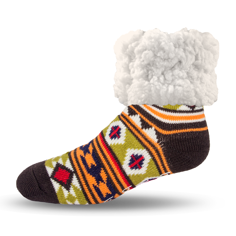 Pudus Cozy Winter Slipper Socks for Women and Men with Non-Slip Grippers and Faux Fur Sherpa Fleece - Adult Regular Fuzzy Socks Geometric Green - Classic Slipper Sock