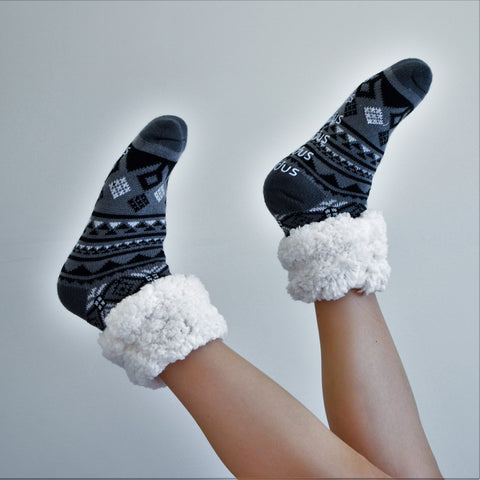 Classic Slipper Socks | Geometric Black