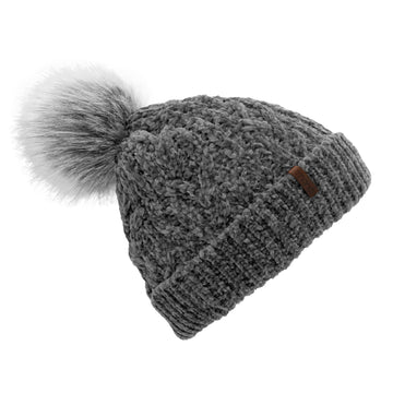 Pudus Women's Winter Beanie Hat in Grey with Faux Fur Pom Pom - Cable Knit Chenille and Fleece Lined