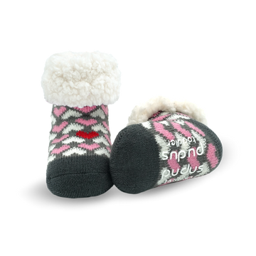 Pudus Cozy Winter Slipper Socks for Toddlers with Non-Slip Grippers and Faux Fur Sherpa Fleece - Baby Boy and Girl Fuzzy Socks (Ages 1-3) Be My Valentine - Toddler Classic Slipper Sock