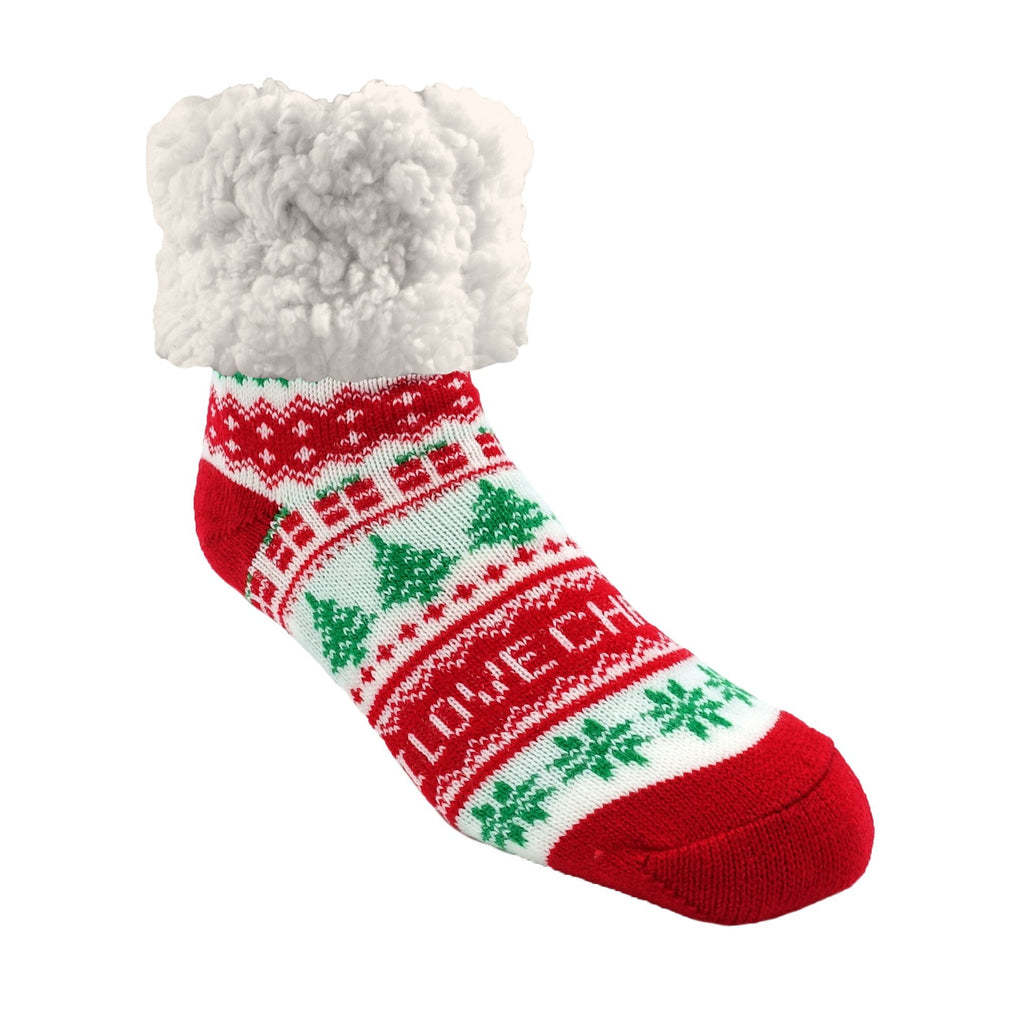 Pudus Classic I Love Christmas slipper socks with red heal and toe