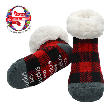 Pudus Cozy Winter Slipper Socks for Kids in Lumberjack Red with Non-Slip Grippers and Faux Fur Sherpa Fleece -  Boy and Girl Fuzzy Socks (Ages 4-7)