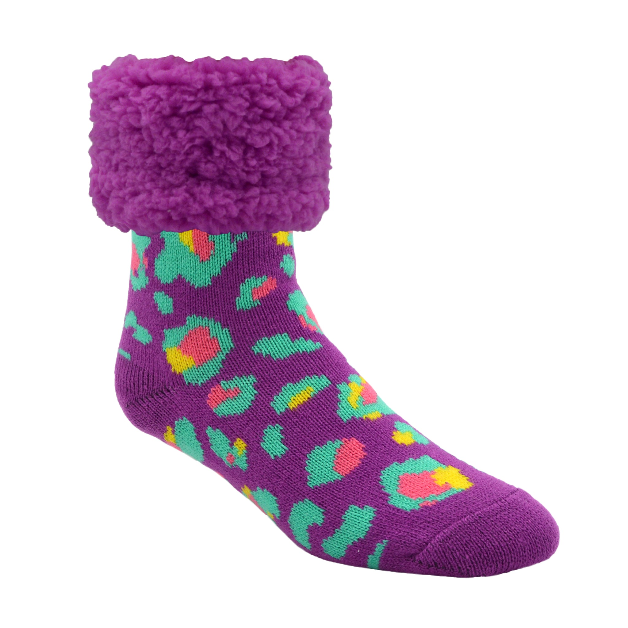 Classic Slipper Socks | Bright Purple Leopard