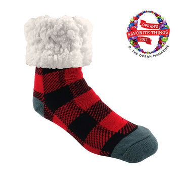 Pudus Cozy Winter Slipper Socks for Women and Men with Non-Slip Grippers and Faux Fur Sherpa Fleece - Adult Regular Fuzzy Socks Lumberjack Red - Classic Slipper Sock