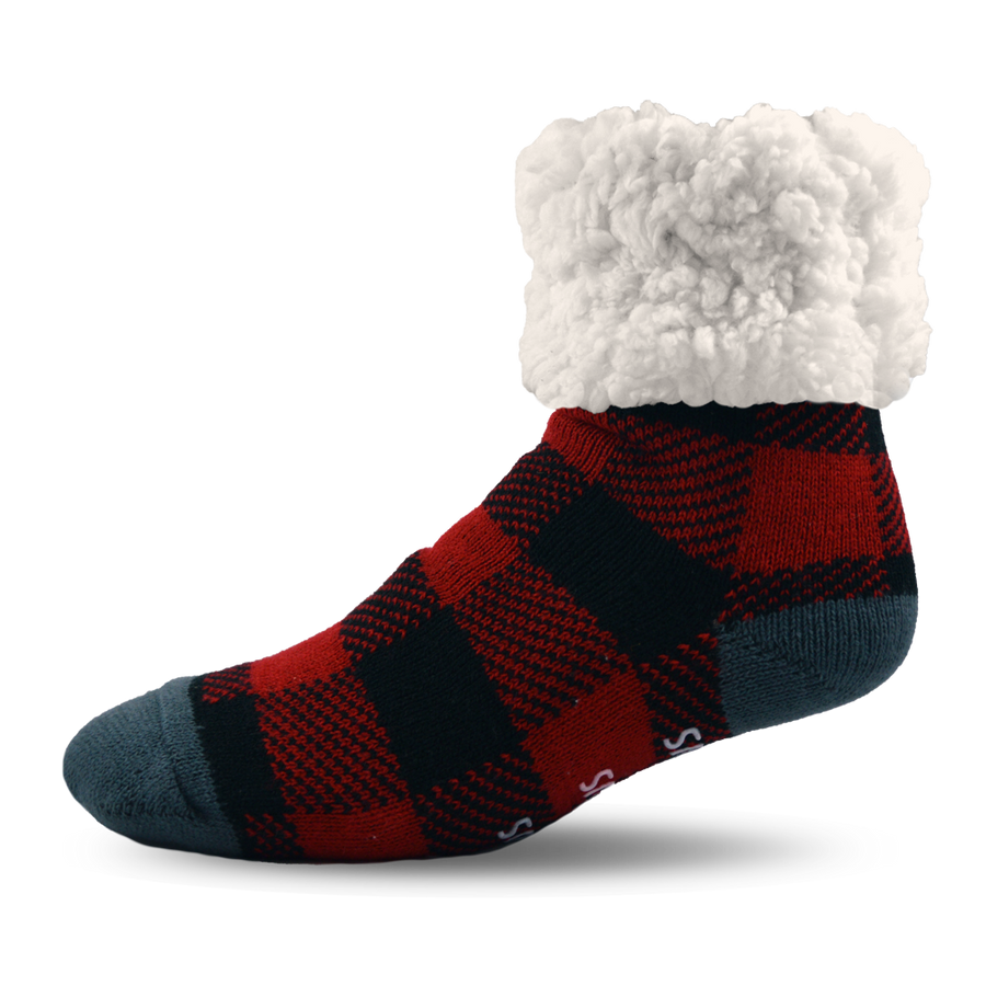Pudus Cozy Winter Slipper Socks for Kids with Non-Slip Grippers and Faux Fur Sherpa Fleece - Boy and Girl Fuzzy Socks (Ages 4-7) Lumberjack Red - Kids Slipper Sock