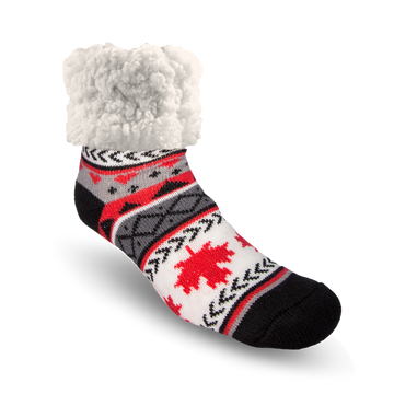 Pudus Cozy Winter Slipper Socks for Women and Men with Non-Slip Grippers and Faux Fur Sherpa Fleece - Adult Regular Fuzzy Socks Maple Leaf Grey - Classic Slipper Sock
