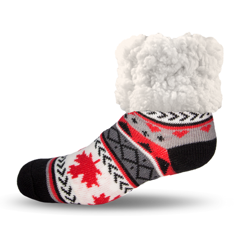 Classic Slipper Socks | Maple Leaf Grey