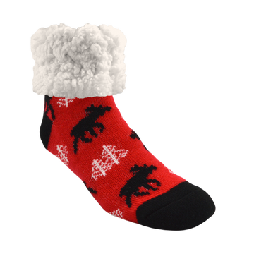 Pudus Cozy Winter Slipper Socks for Women and Men with Non-Slip Grippers and Faux Fur Sherpa Fleece - Adult Regular Fuzzy Socks Moose Red - Classic Slipper Sock