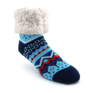 Pudus Cozy Winter Slipper Socks for Women and Men with Non-Slip Grippers and Faux Fur Sherpa Fleece - Adult Regular Fuzzy Socks Large and Regular Nordic Blue - Classic Slipper Sock