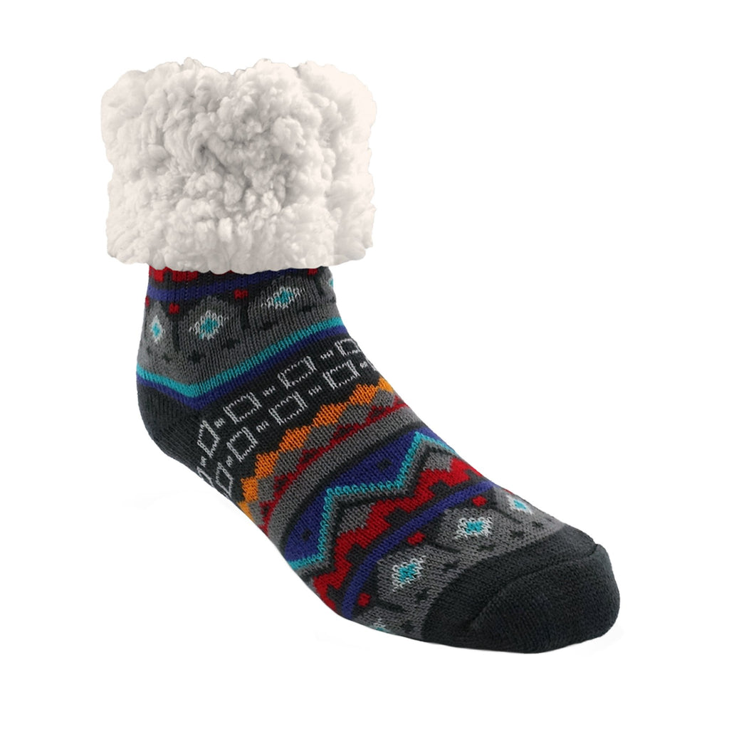 Pudus Classic Nordic Grey slipper socks with grey heal and toe