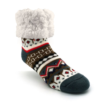 Pudus Cozy Winter Slipper Socks for Women and Men with Non-Slip Grippers and Faux Fur Sherpa Fleece - Adult Regular Fuzzy Socks Nordic White - Classic Slipper Sock