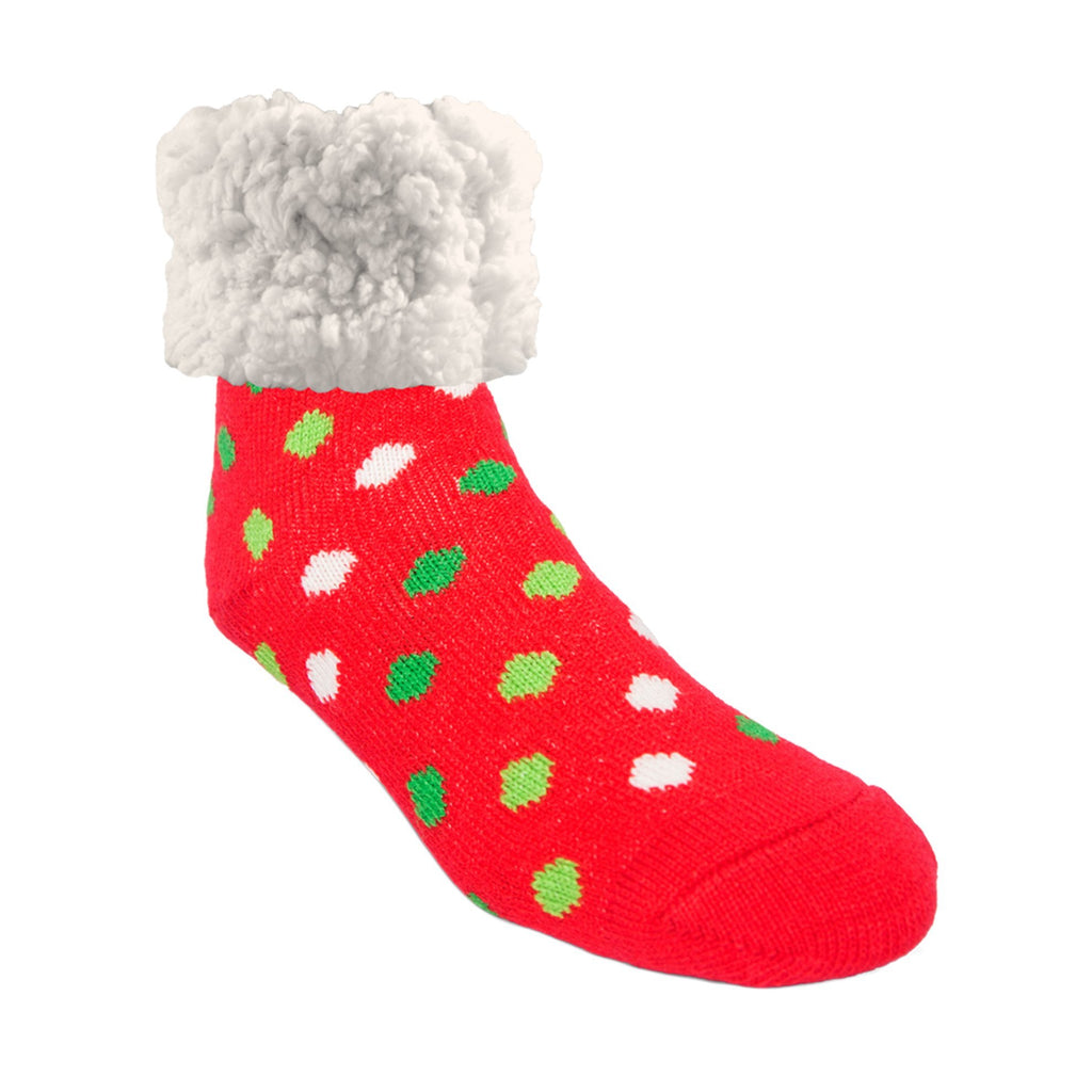 Pudus Classic Polka Dot Red Christmas slipper socks with red heal and toe