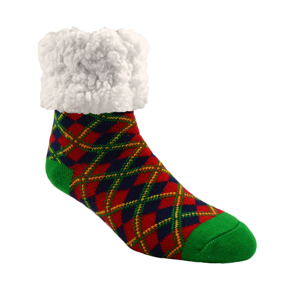 Pudus Classic Plaid Red Christmas slipper socks with green heal and toe