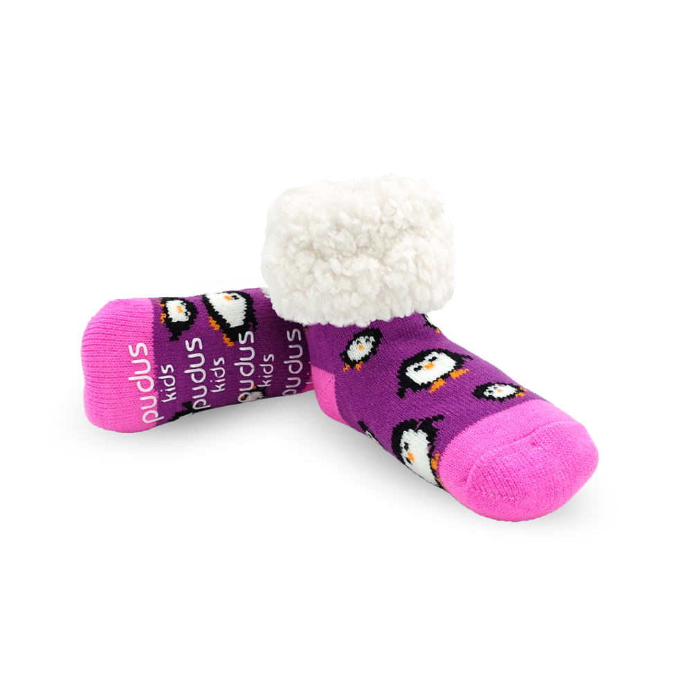 Pudus Cozy Winter Slipper Socks for Kids with Non-Slip Grippers and Faux Fur Sherpa Fleece - Boy and Girl Fuzzy Socks (Ages 4-7) Purple Penguin - Kids Slipper Sock