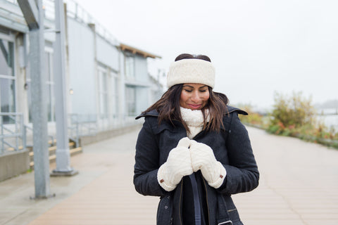 Chenille Knit Winter Mittens | White